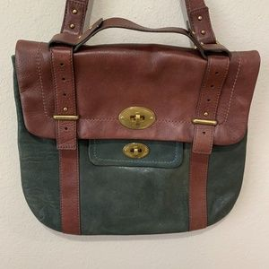 Fossil Leather Satchel Crossbody Green & Brown Bag